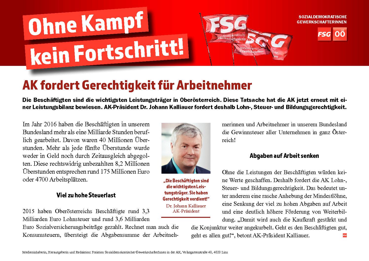 AK fordert Gerechtigkeit für Arbeitnehmer: Enorme Leistungen viel stärker honorieren!