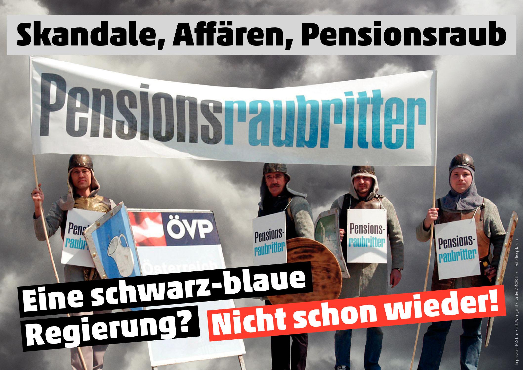 Neues Plakat: Schwarz-blau: Skandale, Affären, Pensionsraub