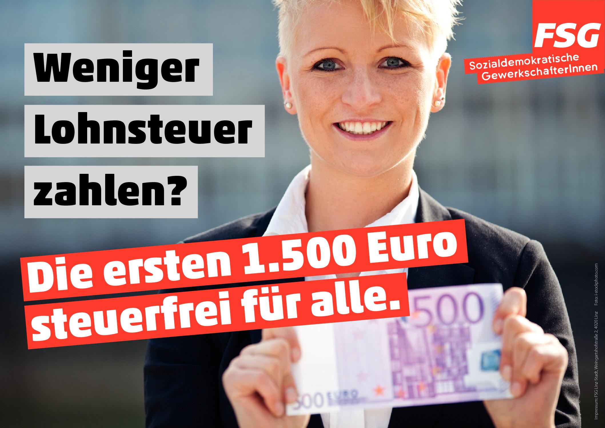 Neues Plakat: 500 Euro weniger Lohnsteuer
